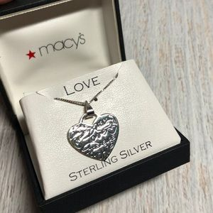 Macy's Love Peace Courage Heart Necklace sterling